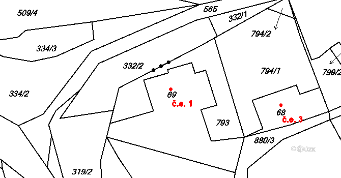 Klokoč 1, Liběšice na parcele st. 69 v KÚ Horní Chobolice, Katastrální mapa
