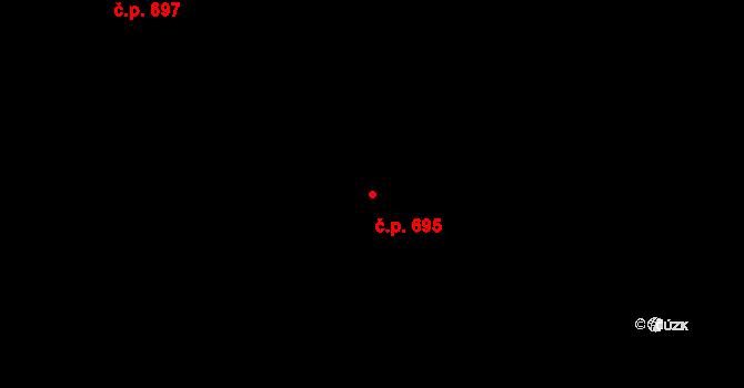 Hlubočepy 695, Praha na parcele st. 2011/1 v KÚ Hlubočepy, Katastrální mapa