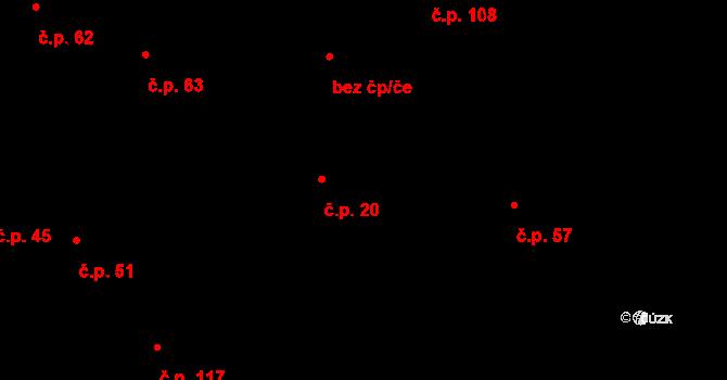 Dlouhá Lhota 20 na parcele st. 39 v KÚ Dlouhá Lhota u Dobříše, Katastrální mapa