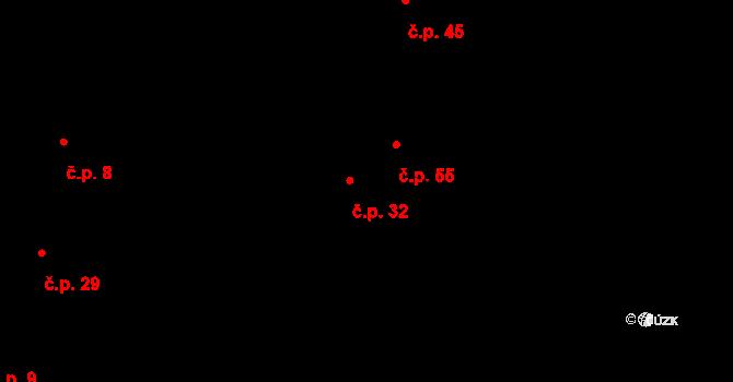 Václavy 32 na parcele st. 48 v KÚ Václavy, Katastrální mapa