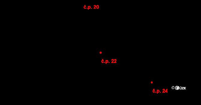 Sedlejov 22 na parcele st. 21 v KÚ Sedlejov, Katastrální mapa