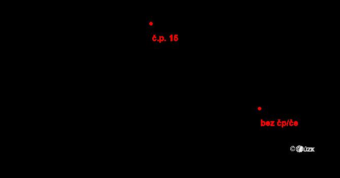 Třebín 15, Dubné na parcele st. 15/1 v KÚ Třebín, Katastrální mapa