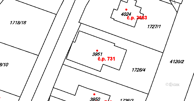 Zlín 731 na parcele st. 3951 v KÚ Zlín, Katastrální mapa