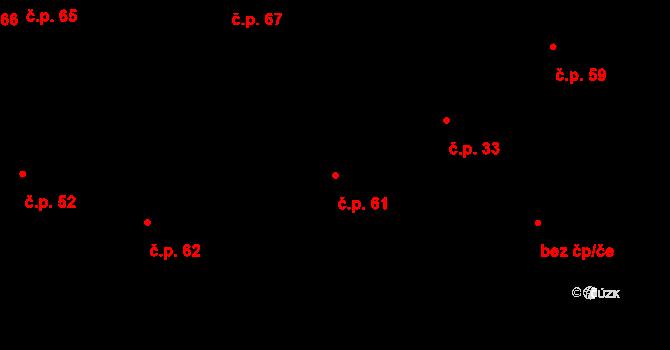 Lhůta 61 na parcele st. 61 v KÚ Lhůta u Tymákova, Katastrální mapa