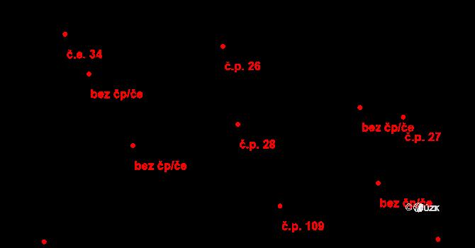 Lužná 28 na parcele st. 105 v KÚ Lužná u Vsetína, Katastrální mapa