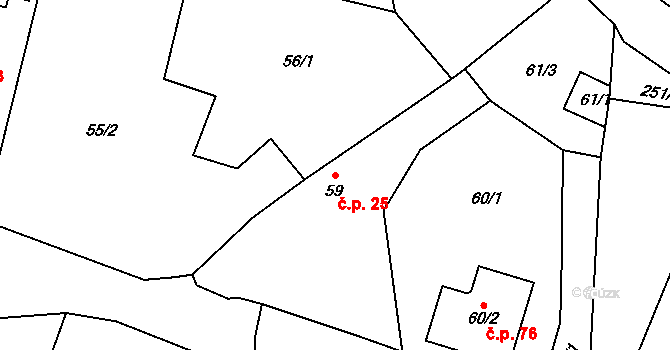 Malé Březno 25 na parcele st. 59 v KÚ Malé Březno, Katastrální mapa