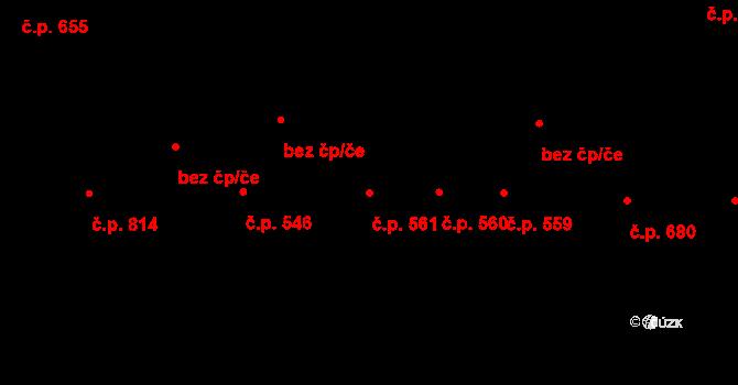 Bílé Předměstí 561, Pardubice na parcele st. 2485 v KÚ Pardubice, Katastrální mapa
