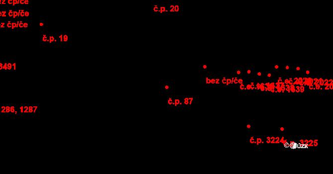 Zlín 87 na parcele st. 4850/1 v KÚ Zlín, Katastrální mapa