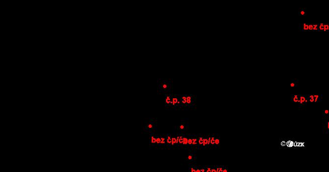 Velká Lhota 38 na parcele st. 39 v KÚ Velká Lhota u Valašského Meziříčí, Katastrální mapa