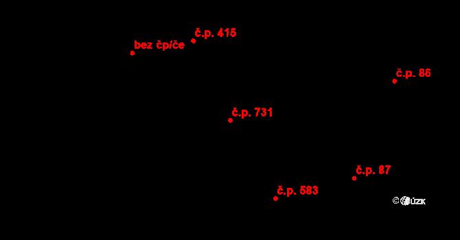 Polešovice 731 na parcele st. 72/1 v KÚ Polešovice, Katastrální mapa