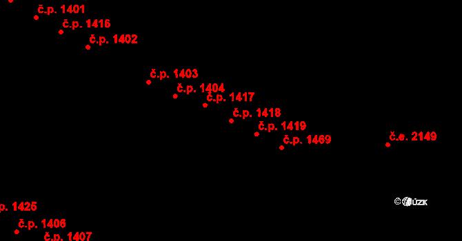Bystrc 1418, Brno na parcele st. 1931/349 v KÚ Bystrc, Katastrální mapa