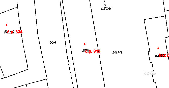 Zábrdovice 819, Brno na parcele st. 530 v KÚ Zábrdovice, Katastrální mapa