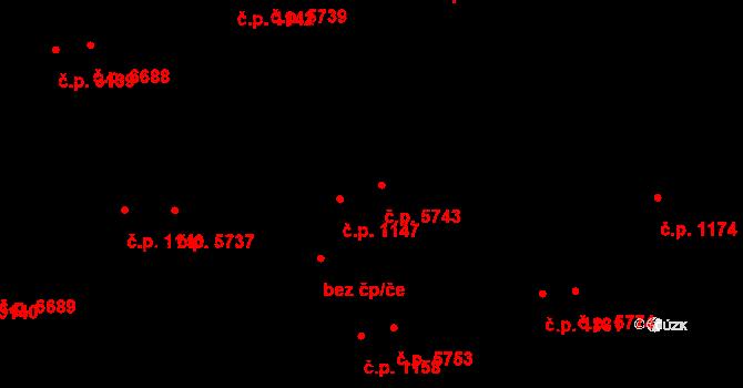 Zlín 5743 na parcele st. 1203/2 v KÚ Zlín, Katastrální mapa