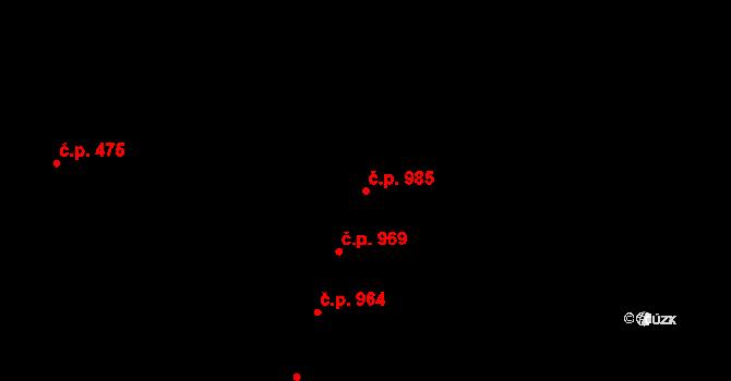 Nivnice 985 na parcele st. 2032/3 v KÚ Nivnice, Katastrální mapa