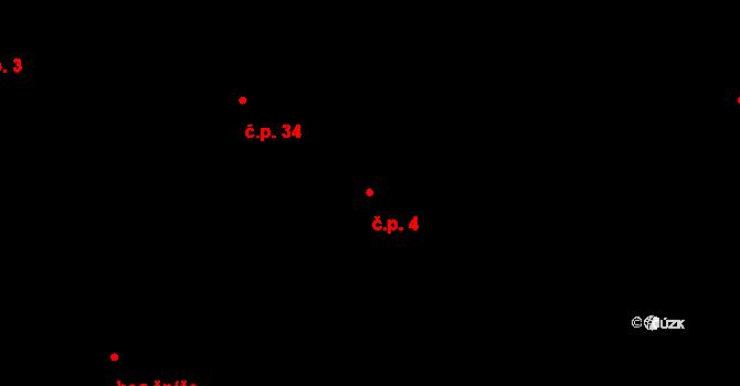 Malé Březno 4 na parcele st. 75/4 v KÚ Malé Březno, Katastrální mapa