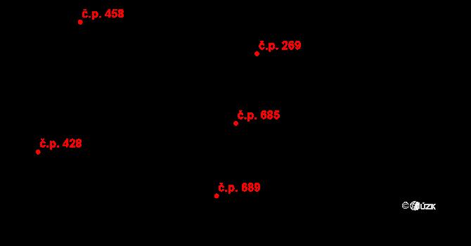Nivnice 685 na parcele st. 2055 v KÚ Nivnice, Katastrální mapa