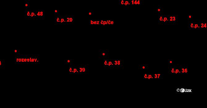 Horní Lhota 38, Blansko na parcele st. 399 v KÚ Horní Lhota u Blanska, Katastrální mapa