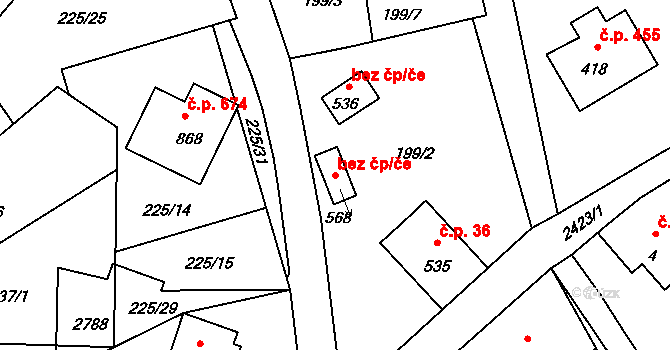 Lučany nad Nisou 38435187 na parcele st. 568 v KÚ Lučany nad Nisou, Katastrální mapa