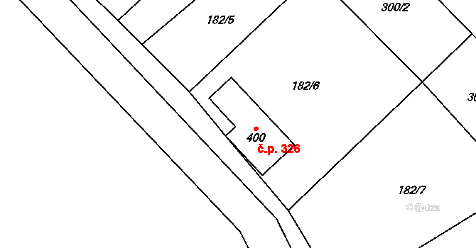 Nová Říše 326 na parcele st. 400 v KÚ Nová Říše, Katastrální mapa