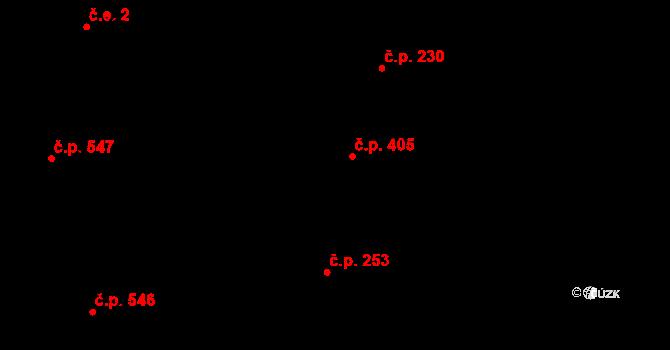 Kelč 405 na parcele st. 295 v KÚ Kelč-Nové Město, Katastrální mapa