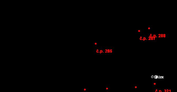 Humny 285, Pchery na parcele st. 522 v KÚ Pchery, Katastrální mapa