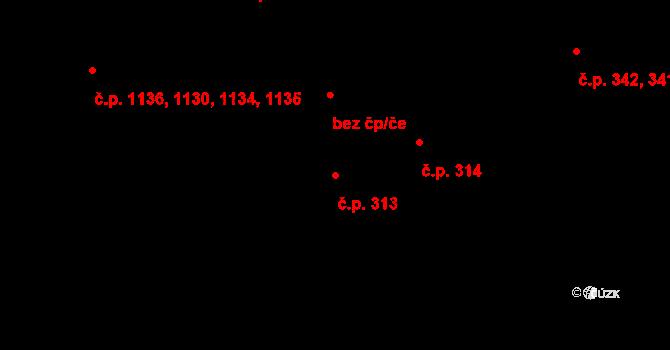 Hradec Králové 313 na parcele st. 405/1 v KÚ Hradec Králové, Katastrální mapa