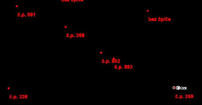 Miroslav 892 na parcele st. 934/4 v KÚ Miroslav, Katastrální mapa