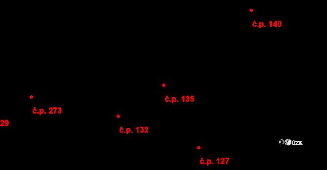 Bratronice 135 na parcele st. 165 v KÚ Bratronice u Kladna, Katastrální mapa