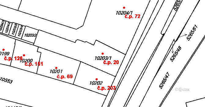 Jižní Předměstí 20, Plzeň na parcele st. 10203/1 v KÚ Plzeň, Katastrální mapa