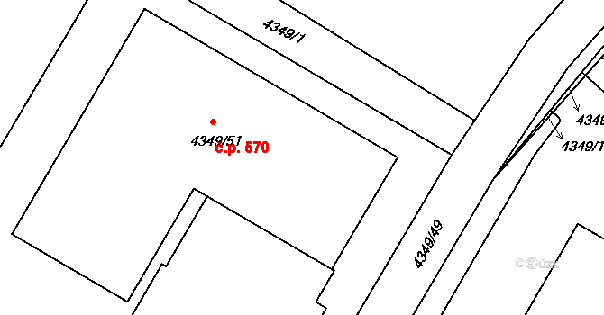 Příbram V-Zdaboř 570, Příbram na parcele st. 4349/51 v KÚ Příbram, Katastrální mapa