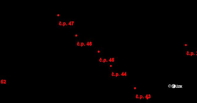 Nové Veselí 45 na parcele st. 583 v KÚ Nové Veselí, Katastrální mapa