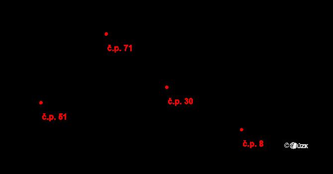 Malé Březno 30 na parcele st. 6 v KÚ Malé Březno, Katastrální mapa