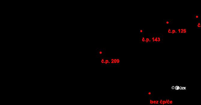 Šeberov 209, Praha na parcele st. 51/2 v KÚ Šeberov, Katastrální mapa