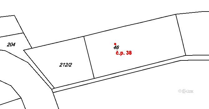 Měník 38, Bílá Lhota na parcele st. 46 v KÚ Měník, Katastrální mapa