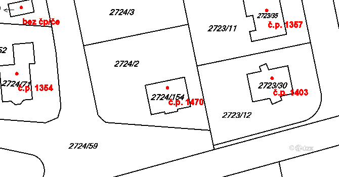 Kylešovice 1470, Opava na parcele st. 2724/154 v KÚ Kylešovice, Katastrální mapa