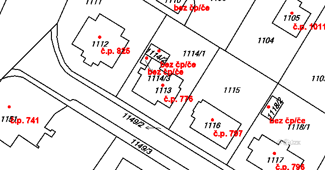 Frýdlant 776 na parcele st. 1113 v KÚ Frýdlant, Katastrální mapa