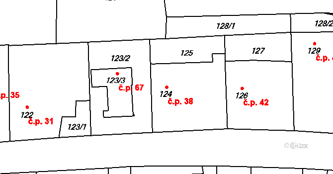 Sedlice 38, Praskačka na parcele st. 124 v KÚ Sedlice u Hradce Králové, Katastrální mapa