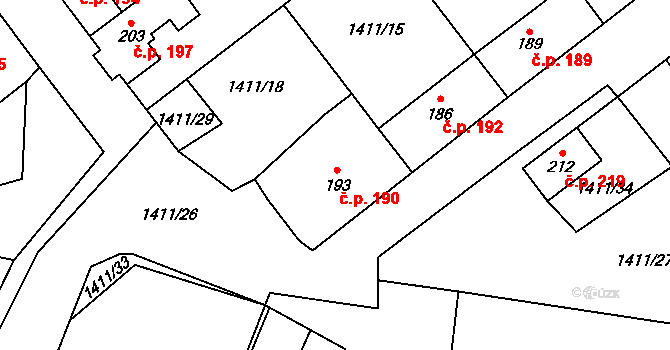 Předín 190 na parcele st. 193 v KÚ Předín, Katastrální mapa