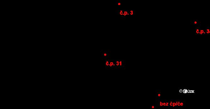 Malé Březno 31 na parcele st. 90 v KÚ Malé Březno, Katastrální mapa