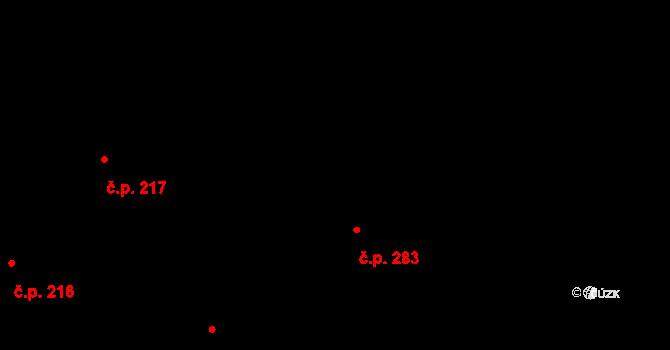 Mladcová 283, Zlín na parcele st. 486 v KÚ Mladcová, Katastrální mapa