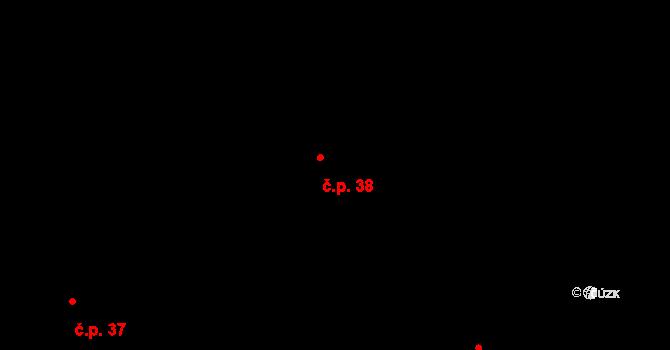 Dolní Lhota 38, Stráž nad Nežárkou na parcele st. 44 v KÚ Dolní Lhota u Stráže nad Nežárkou, Katastrální mapa