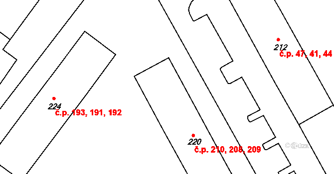Nová Role 208,209,210 na parcele st. 220 v KÚ Nová Role, Katastrální mapa