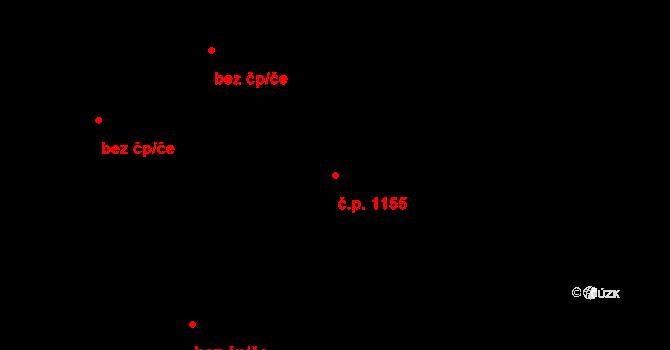 Hodolany 1155, Olomouc na parcele st. 2205 v KÚ Hodolany, Katastrální mapa