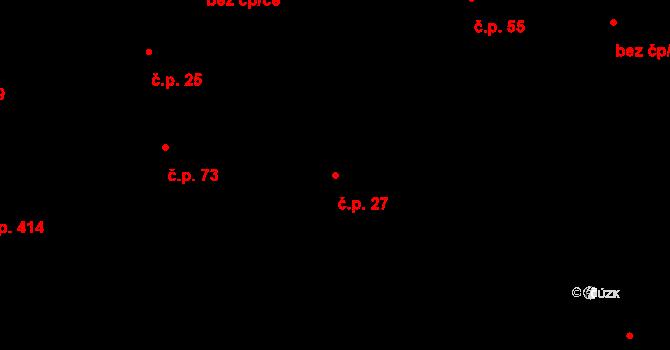 Příluky 27, Zlín na parcele st. 95/1 v KÚ Příluky u Zlína, Katastrální mapa