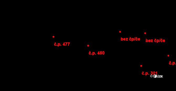 Lučany nad Nisou 450 na parcele st. 411 v KÚ Lučany nad Nisou, Katastrální mapa