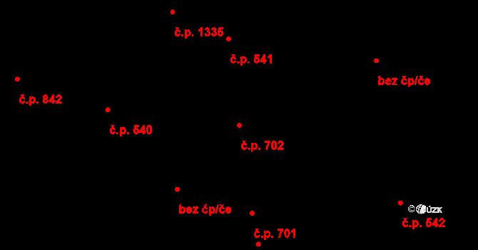 Svítkov 702, Pardubice na parcele st. 572 v KÚ Svítkov, Katastrální mapa