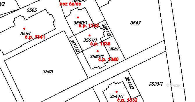 Frýdek 1340, Frýdek-Místek na parcele st. 3562/1 v KÚ Frýdek, Katastrální mapa