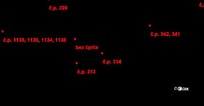 Hradec Králové 314 na parcele st. 406 v KÚ Hradec Králové, Katastrální mapa