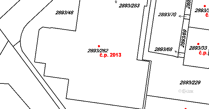 Krč 2013, Praha na parcele st. 2893/282 v KÚ Krč, Katastrální mapa