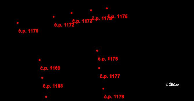 Svítkov 1176, Pardubice na parcele st. 1990 v KÚ Svítkov, Katastrální mapa